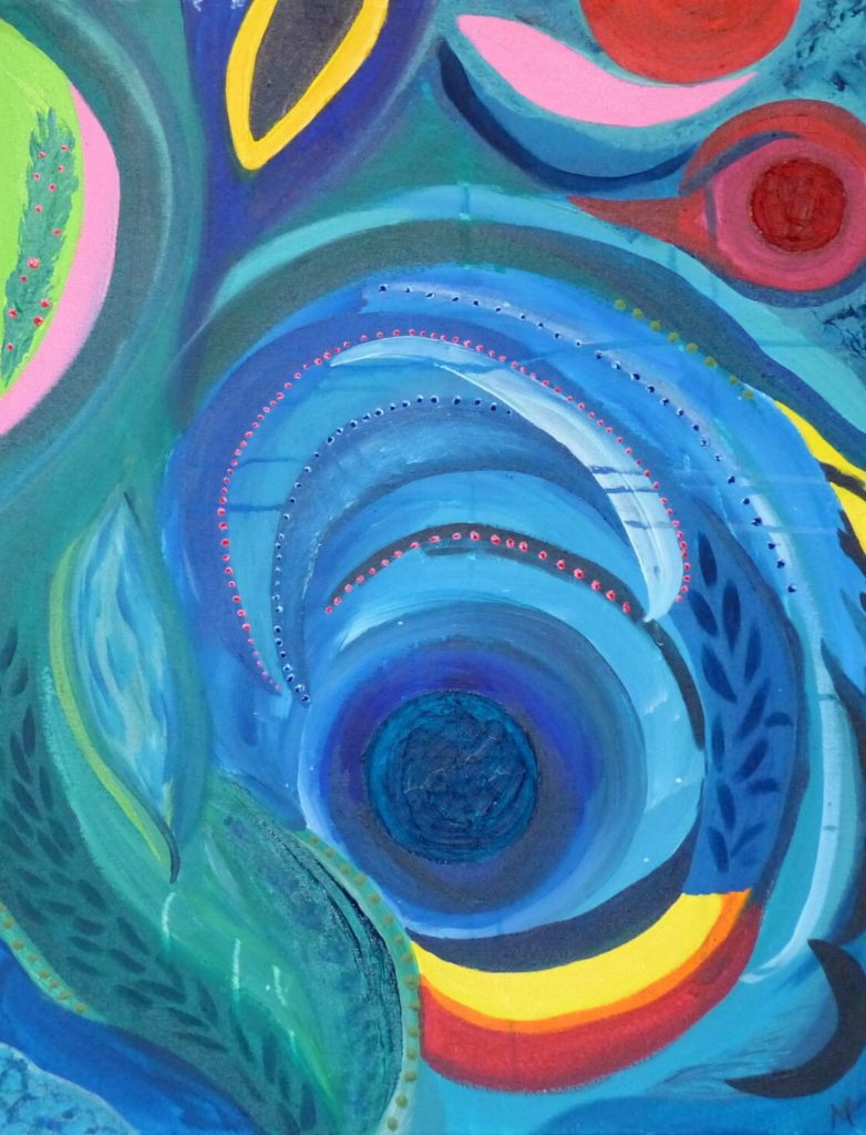 Le rayon bleu 65x50cm Acrylique, huile sur toile