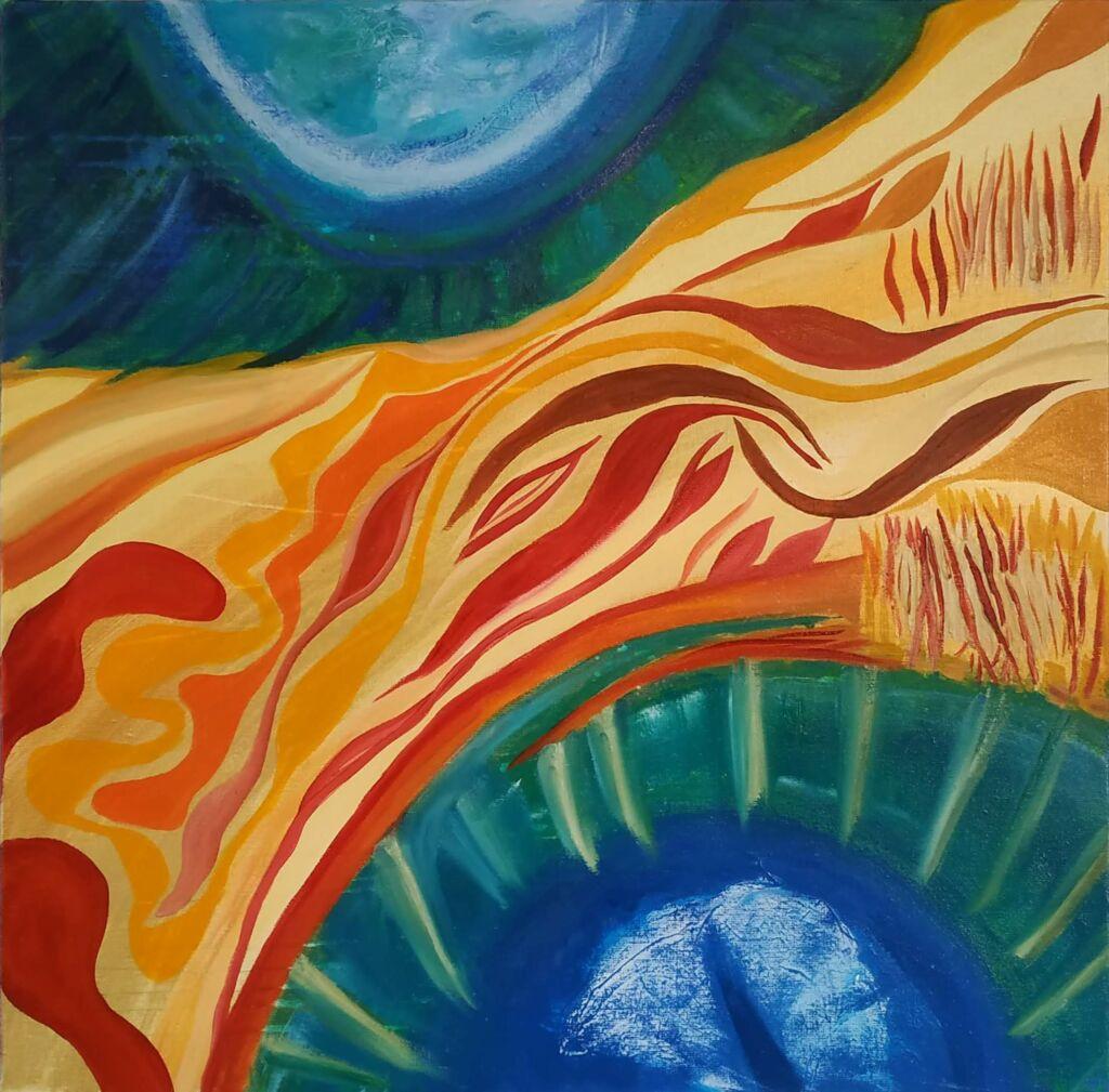 La demeure d'un ciel . Peinture à l'huile. Sur lin sur châssis. 70 x 70 cm.  2020