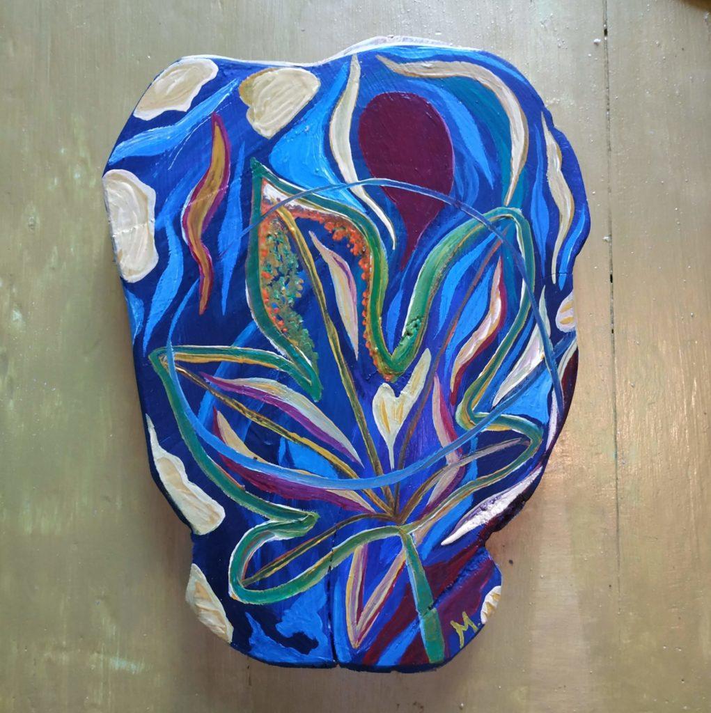 """"""" A l'ombre bleue du figuier""""  Peinture écologique huile sur bois 32 x 40 cm  2020"""
